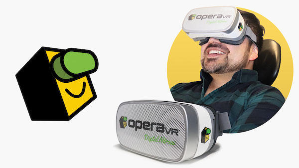 Man wearing OperaVR virtual reality mask for dental patients